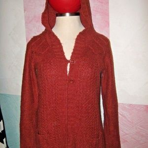 VANITY Rusty Red Hooded Soft Plush Sweater XL